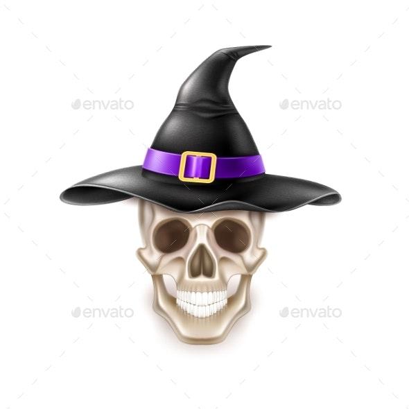 Vector Happy Halloween Element Skull in Witch Hat - Halloween Seasons/Holidays