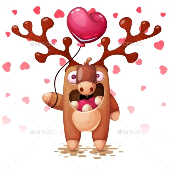 Deer with Heart Balloon - Animals Characters