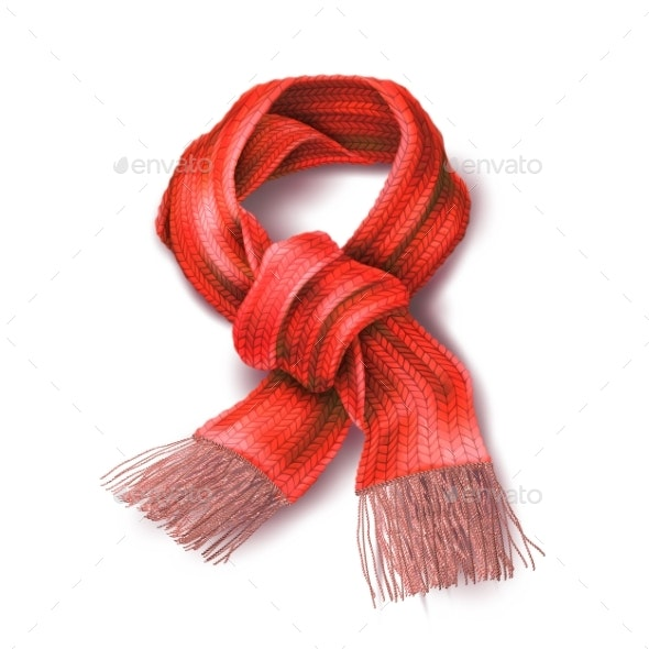 Vector Realistic Knitted Warm Scarf - Man-made Objects Objects