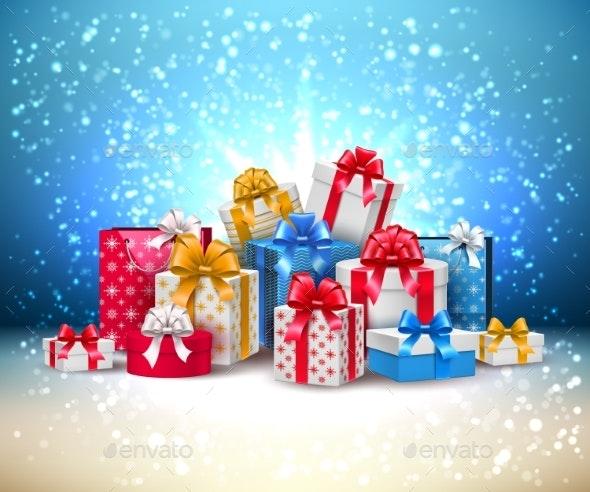 Vector Christmas New Year Holiday Present Box Gift - Christmas Seasons/Holidays