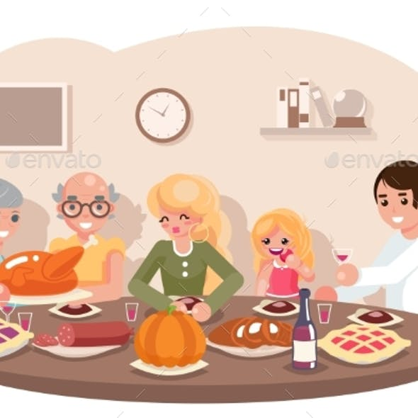 Family Friends Eat Meal
