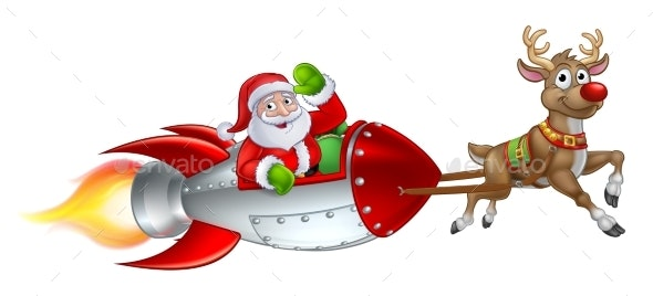 Santa Rocket Sleigh Christmas Cartoon - Christmas Seasons/Holidays
