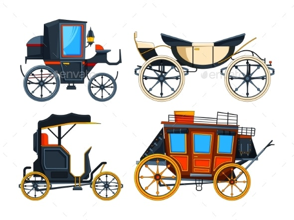 Retro Transport Carriage. Vector Pictures of - Objects Vectors
