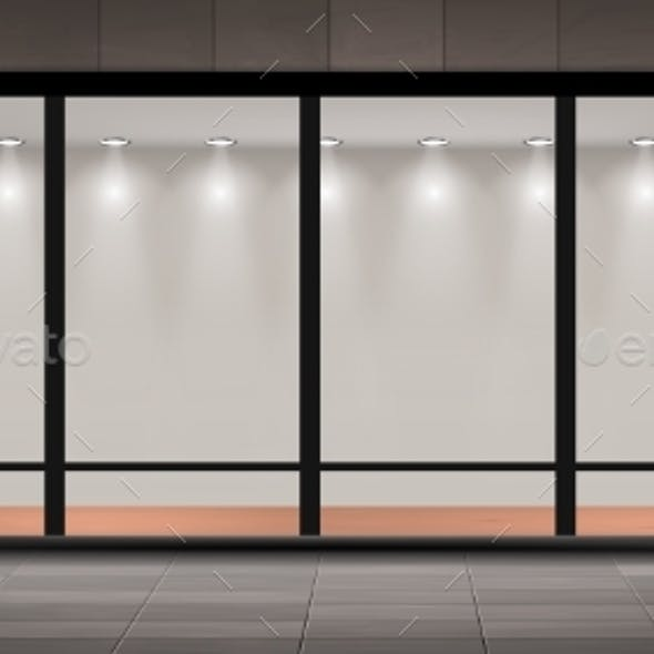 Vector Storefront Empty Illuminated Showroom