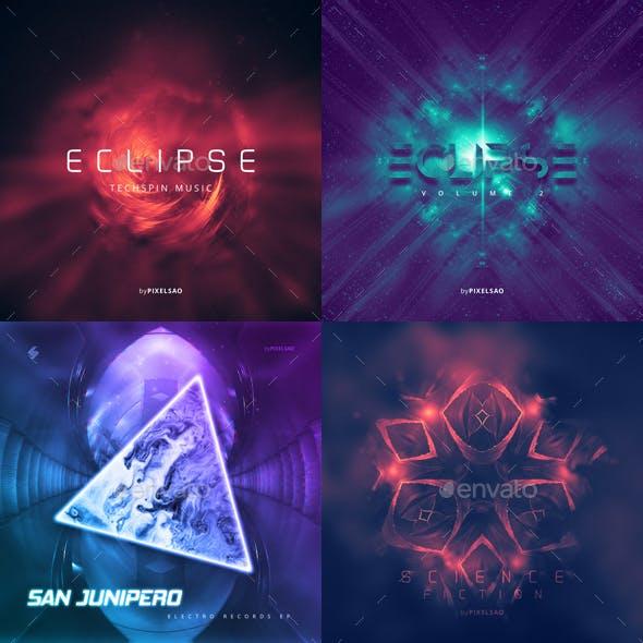 Electronic Music Album Cover Artwork Templates Bundle 4