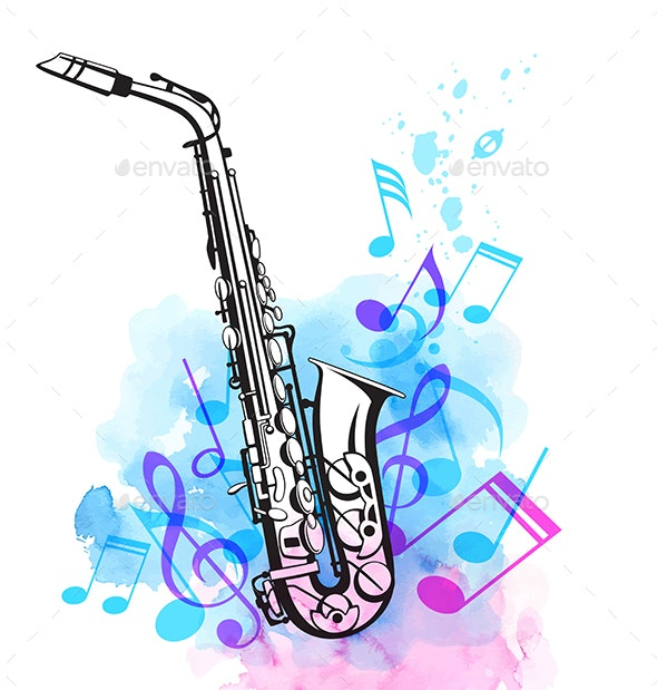 Music Notes and Saxophone - Miscellaneous Vectors