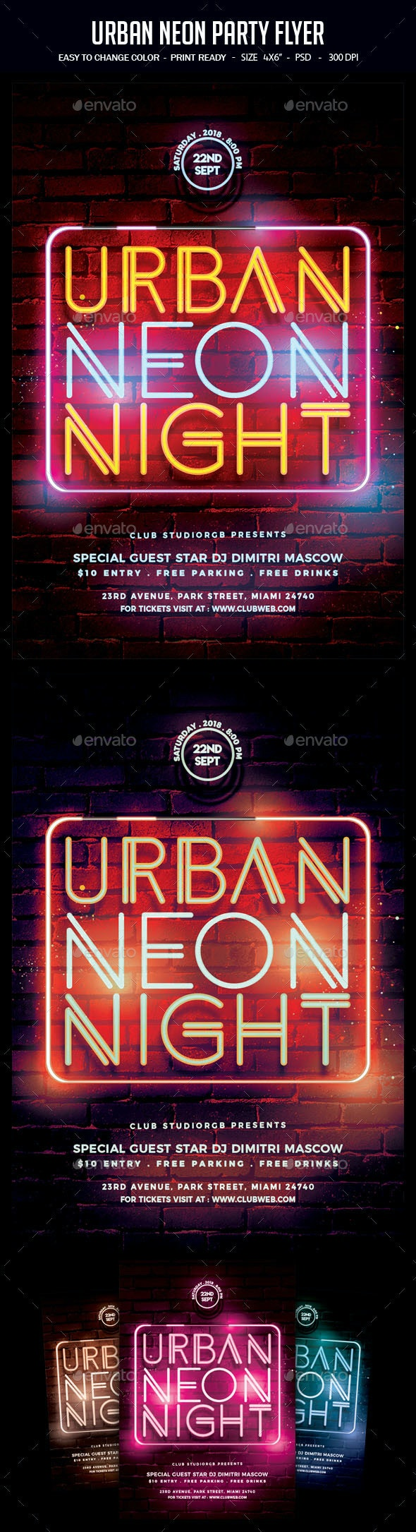 Urban Neon Party Flyer - Clubs & Parties Events