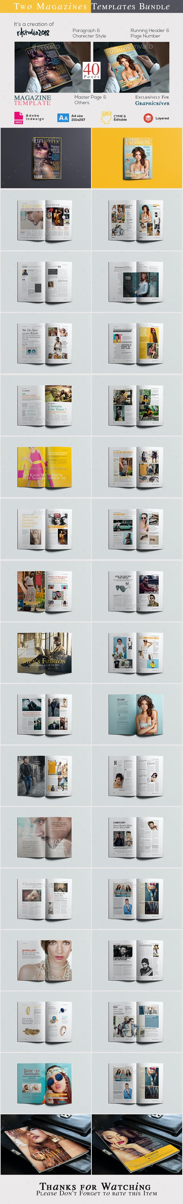 A4 Magazine Bundle Vol 01 - Magazines Print Templates