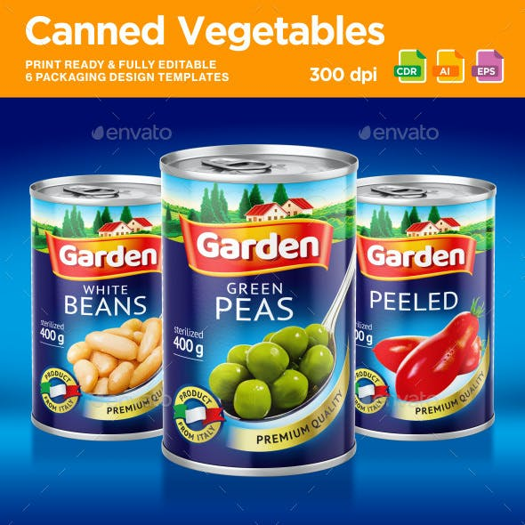 6 Canned Vegetables Packaging Design Template