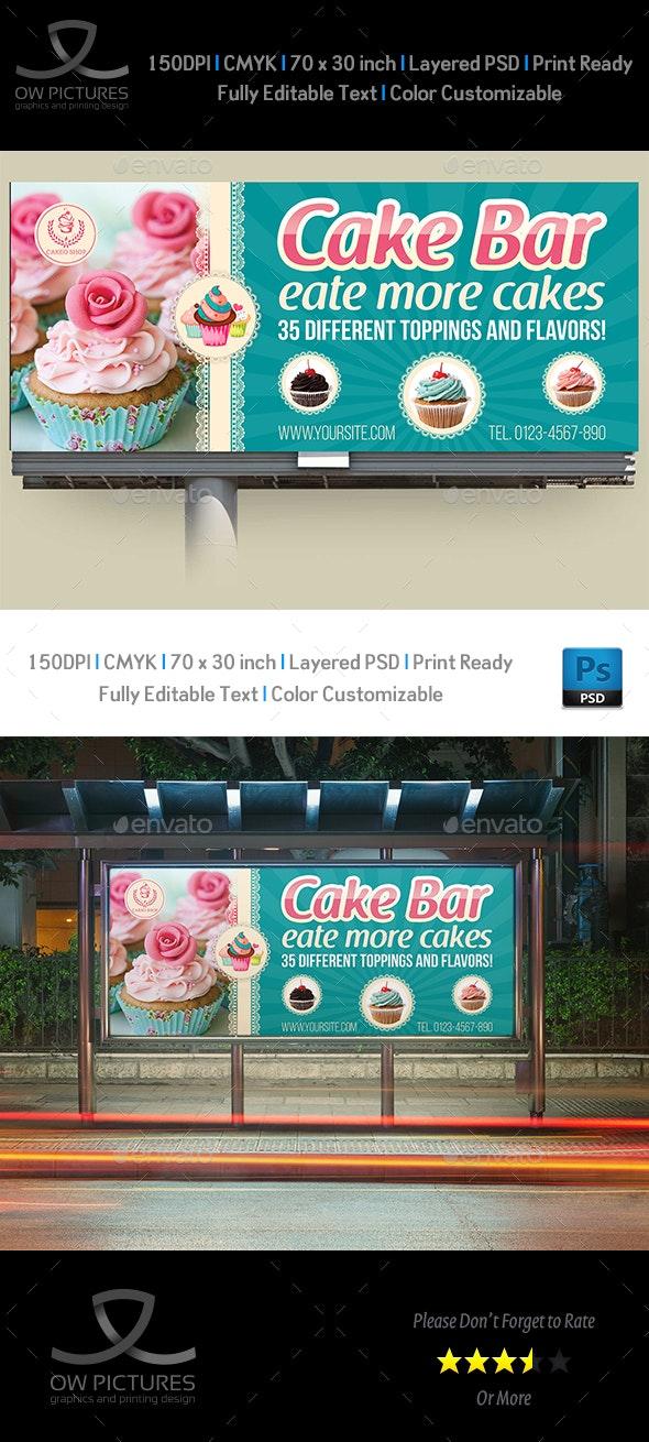 Cake Shop Billboard Template Vol.5 - Signage Print Templates