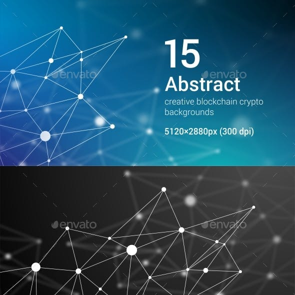 15 Abstract Futuristic Crypto Blockchain Backgrounds. White Dots and Shapes in Triangles Set 1