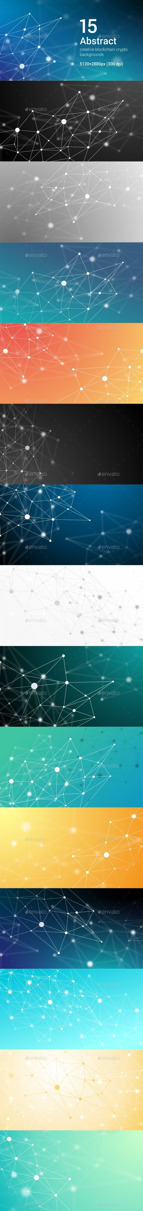 15 Abstract Futuristic Crypto Blockchain Backgrounds. White Dots and Shapes in Triangles Set 1 - Abstract Backgrounds