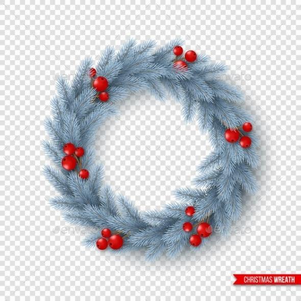 Christmas Wreath with Realistic Fir-Tree Branches - Christmas Seasons/Holidays
