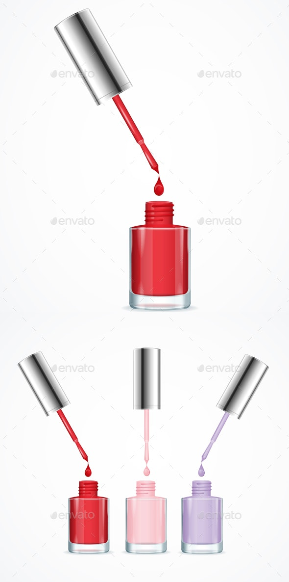 Realistic Detailed Color Nail Polish Set - Man-made Objects Objects