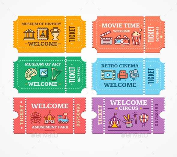 Cartoon Color Different Tickets Icon Set - Miscellaneous Vectors