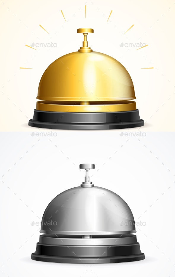 Realistic Detailed Shiny Metallic Reception Bell - Man-made Objects Objects
