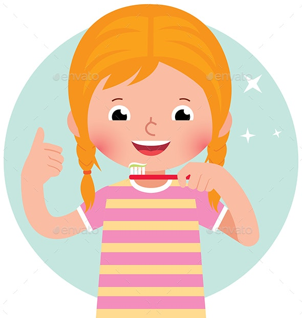 Vector Cartoon Girl with Toothbrush - People Characters