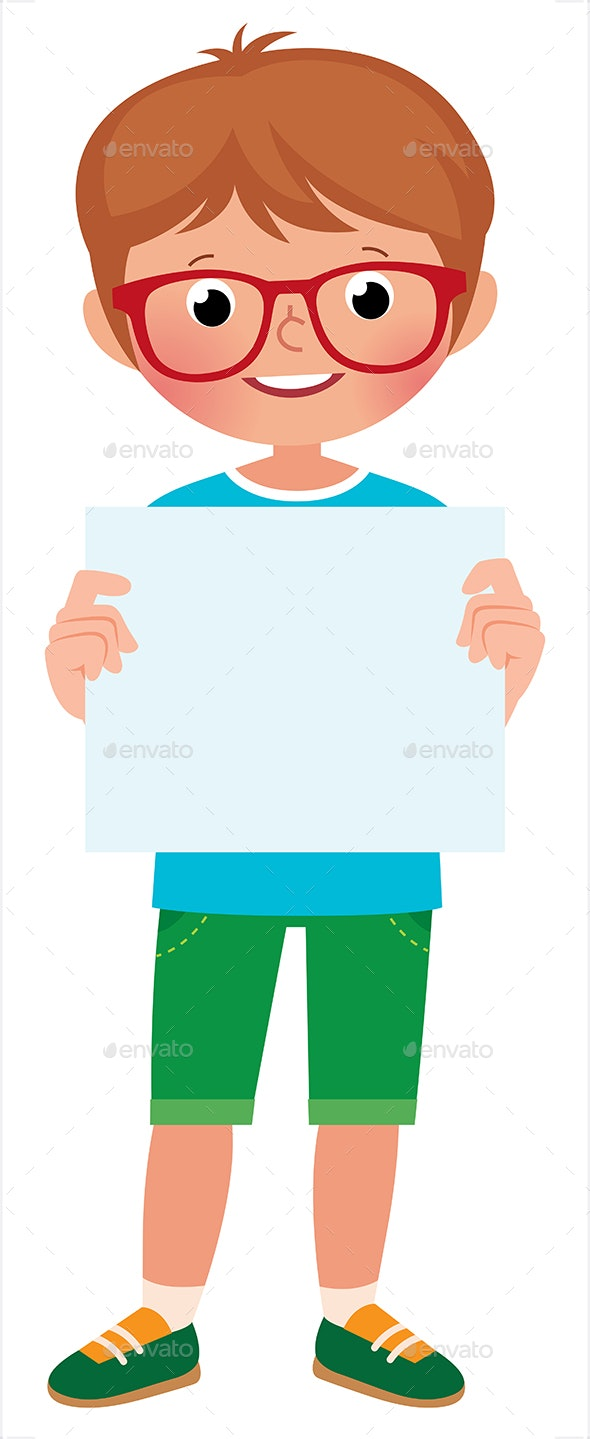 Vector Illustration of a Boy in Full Length - People Characters