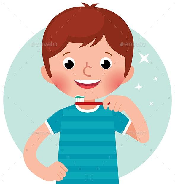 Vector Cartoon Boy Brushing his Teeth - People Characters