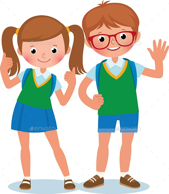 Two Students of Elementary School - People Characters