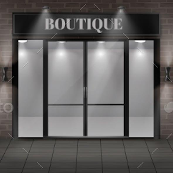 Vector Boutique Shop Facade with Signboard