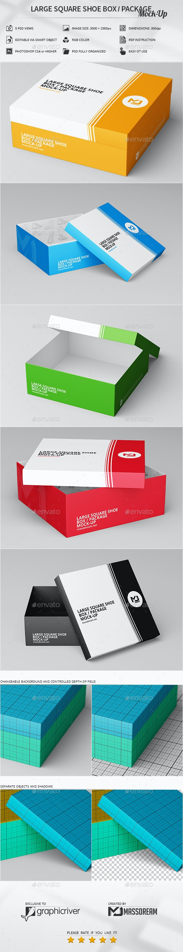 Large Square Shoe Box / Package Mock-Up - Product Mock-Ups Graphics