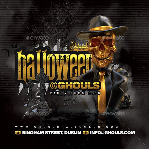 Scary Golden Halloween Party Flyer