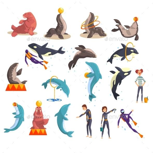 Oceanarium or Dolphinarium Set - Animals Characters
