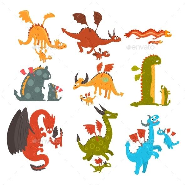 Mature Dragons and Small Baby Dragons Set - Animals Characters