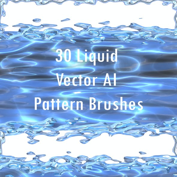 30 Liquid Splash Brushes - Vector Adobe Illustrator Water, Milk and Fluid Metal Brushes