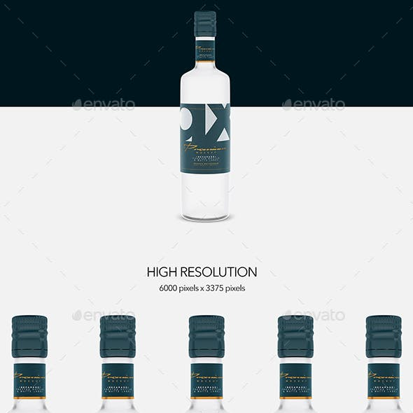 Beverage - Glass - Frosted Bottle - Matte Label - Front View