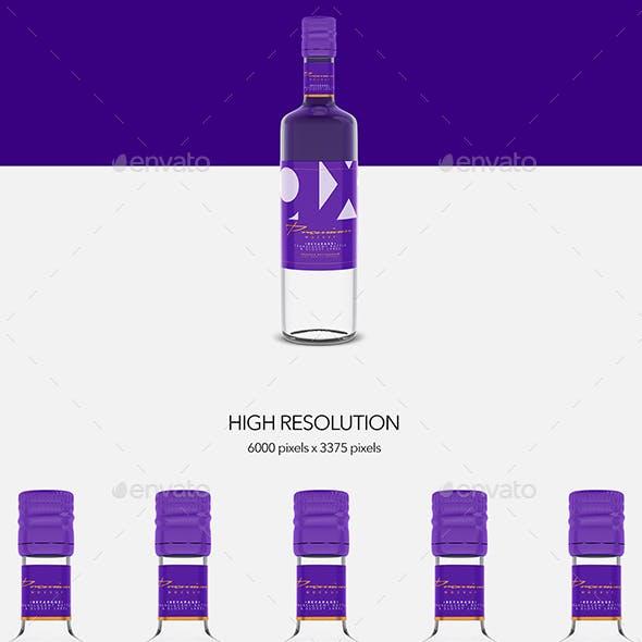 Beverage - Glass - Translucent  Bottle - Glossy Label - Mockup