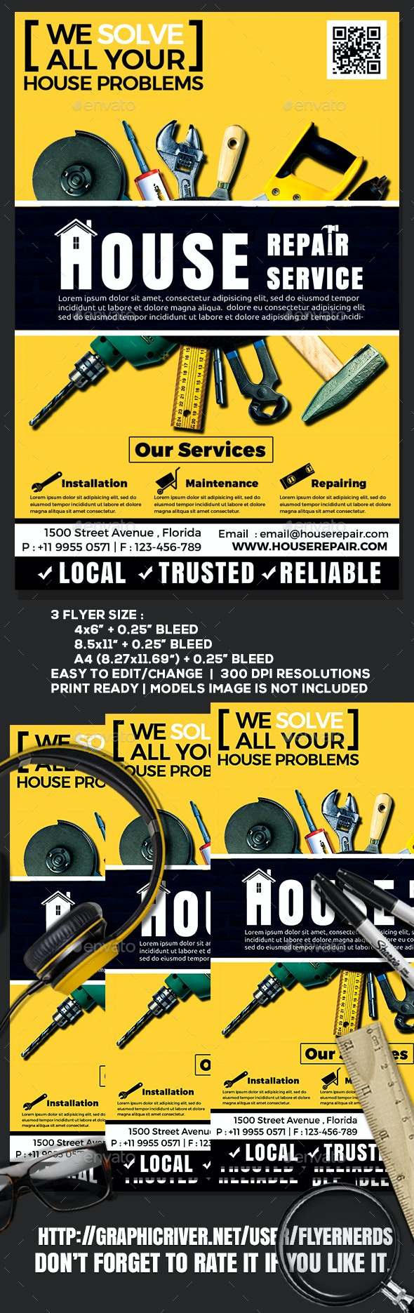 House Repair Company Service Flyer - Commerce Flyers