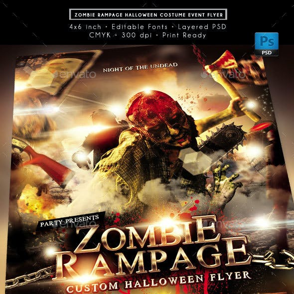 Zombie Rampage Halloween Costume Event Flyer