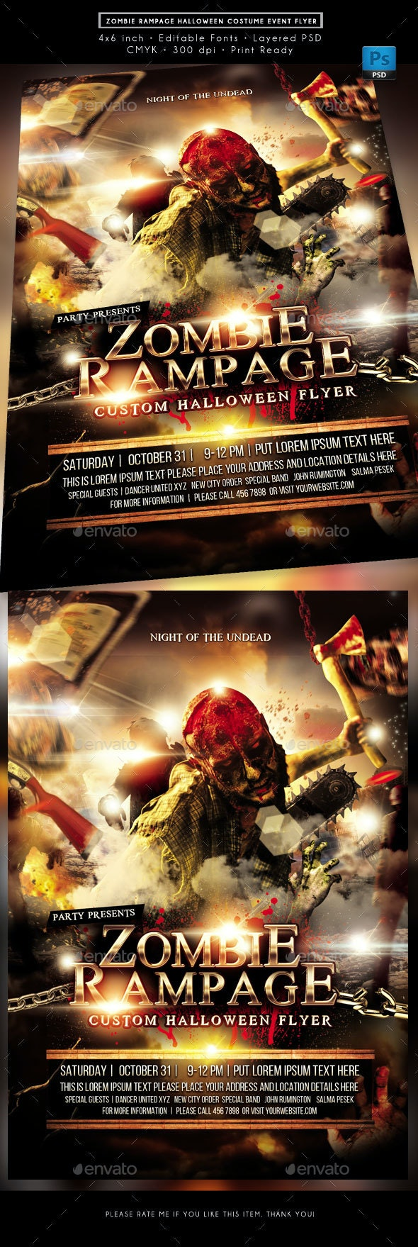 Zombie Rampage Halloween Costume Event Flyer - Clubs & Parties Events