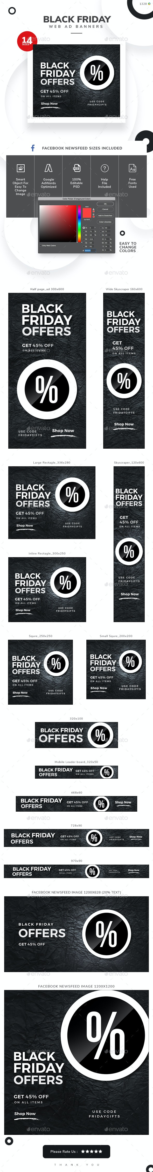 Black Friday Web Banner Set - Banners & Ads Web Elements