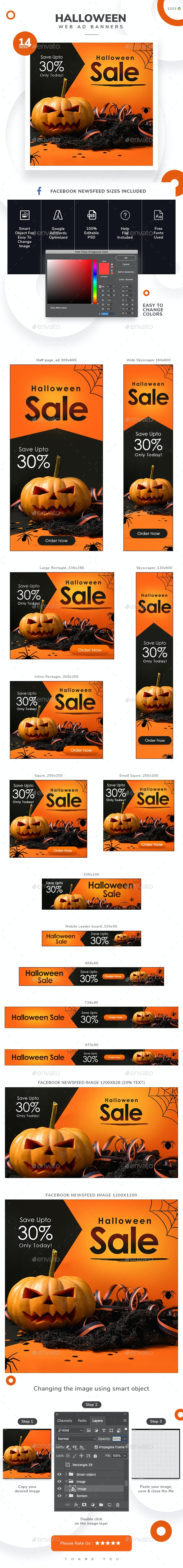 Halloween Sale Web Banner Set - Banners & Ads Web Elements