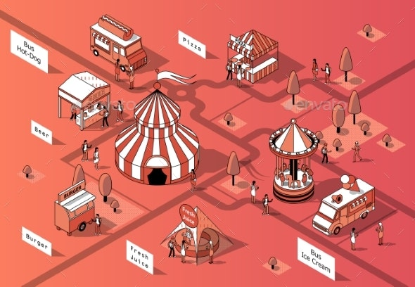 Vector Isometric Festival - Buildings Objects