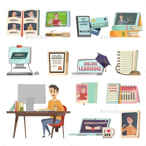 Online Education Orthogonal Icons - Miscellaneous Vectors
