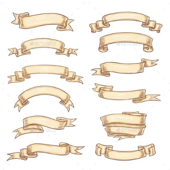 Vector Icons Old Paper Roll or Manuscript Ribbon - Miscellaneous Vectors