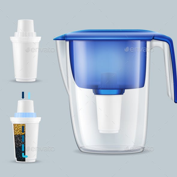 Water Filters Realistic Set