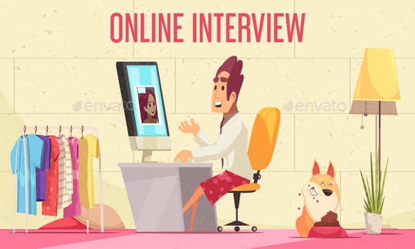 Online Job Interview Background - People Characters