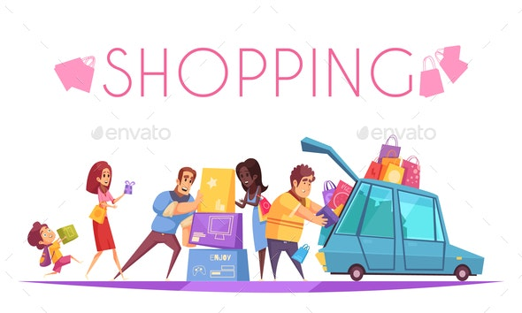 Shopping Mania Background Composition - People Characters