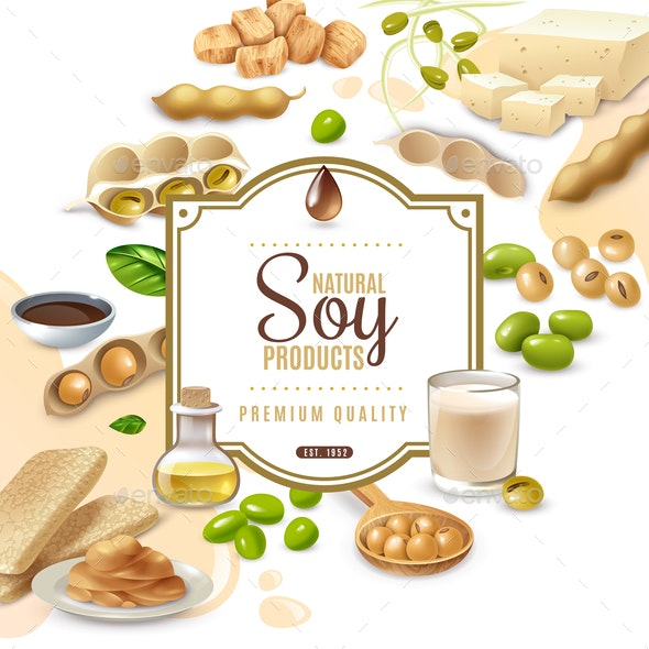 Soy Food Products Frame Background - Food Objects