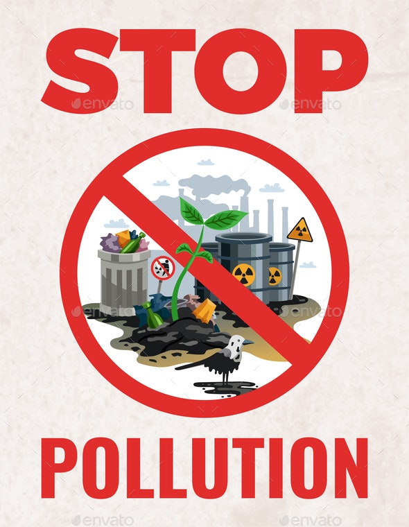 Stop Pollution Ecological Poster - Industries Business