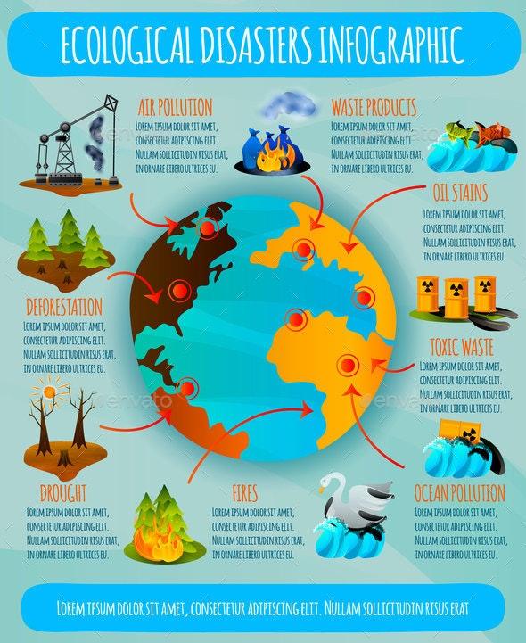Ecological Problems Flat Infographics - Miscellaneous Conceptual