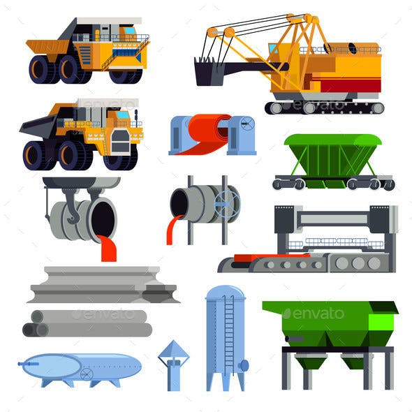 Flat Steel Production Metallurgy Icon Set