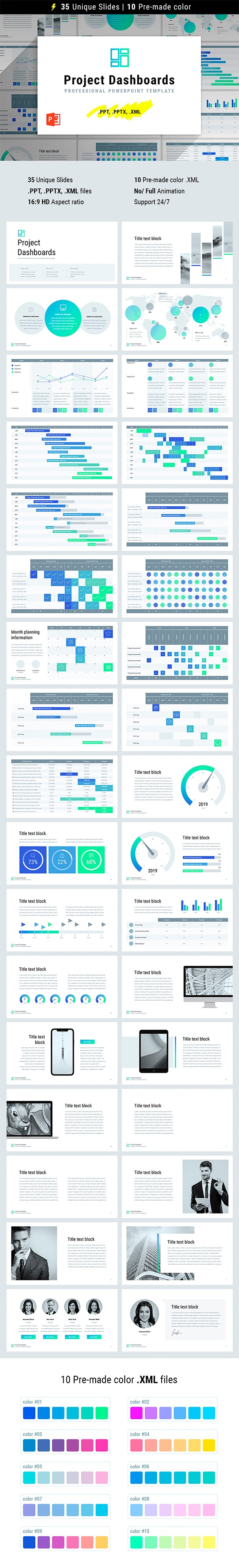 Project Dashboards for PowerPoint - Business PowerPoint Templates