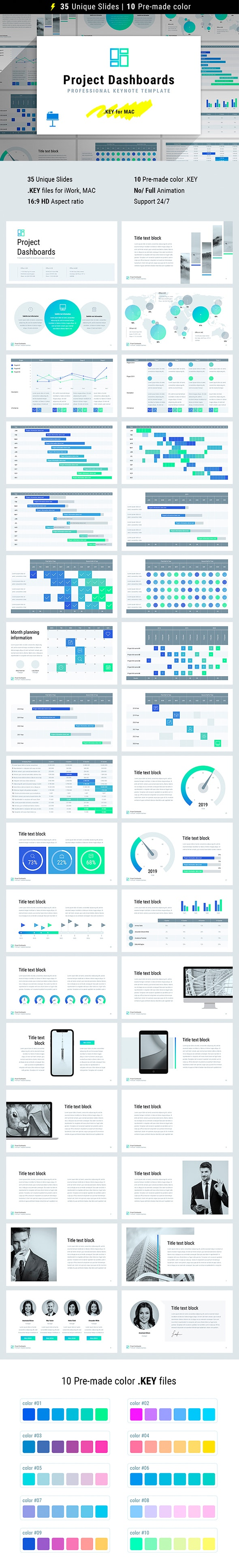 Project Dashboards for Keynote - Business Keynote Templates