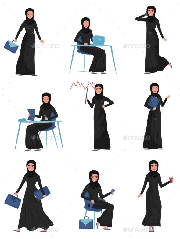 Flat Vector Set of Muslim Business Woman in - People Characters
